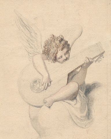 Richard Cosway(1742-1841) ,  Coloured chalk study of an angel playing a lute, approx. 17 x 14 cms